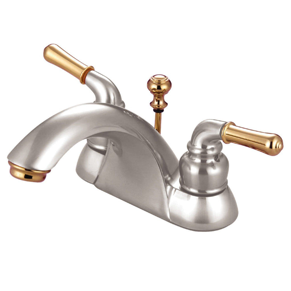 "Naples Two Handle 4"" Centerset 3-Hole Bathroom Faucet w/Metal Lever - Includes Pop-Up Drain, 1.2 gpm"
