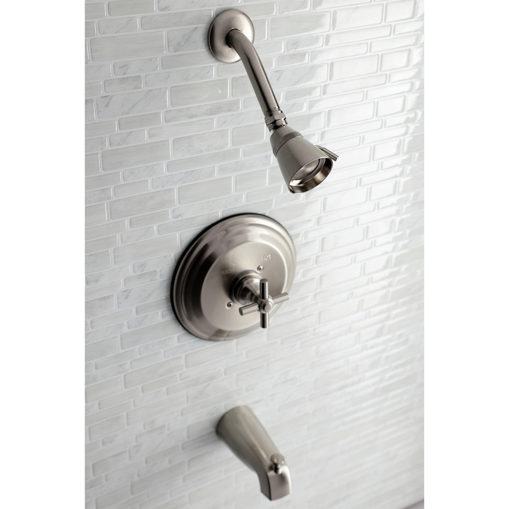 Classic Single Handle 3-Hole Tub and Shower Faucet w/Metal Cross, 1.8 gpm & 7 gpm