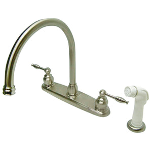 "Knight Two Handle 8"" Centerset 4-Hole Kitchen Faucet w/Metal Lever and Side Spray, 1.8 gpm"