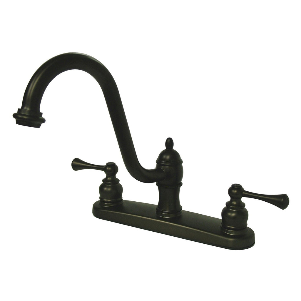 "Restoration Two Handle 8"" Centerset 3-Hole Kitchen Faucet w/Metal Lever, 1.8 gpm"
