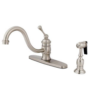 "Vintage Single Handle 8"" Centerset 2 or 4 Hole Kitchen Faucet w/Metal Lever, Optioinal Deck Plate and Side Spray, 1.8 gpm"