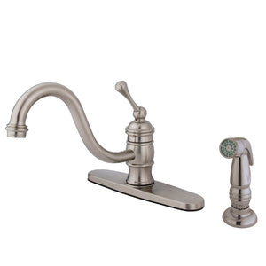 "Classic Single Handle 8"" Centerset 1 or 3 Hole Kitchen Faucet w/Metal Lever and Optional Deck Plate, 1.8 gpm"