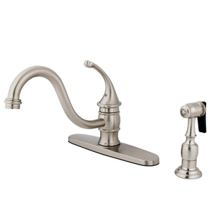"Georgian Single Handle 8"" Centerset 2 or 4 Hole Kitchen Faucet w/Metal Lever, Optional Deck Plate and Side Spray, 1.8 gpm"