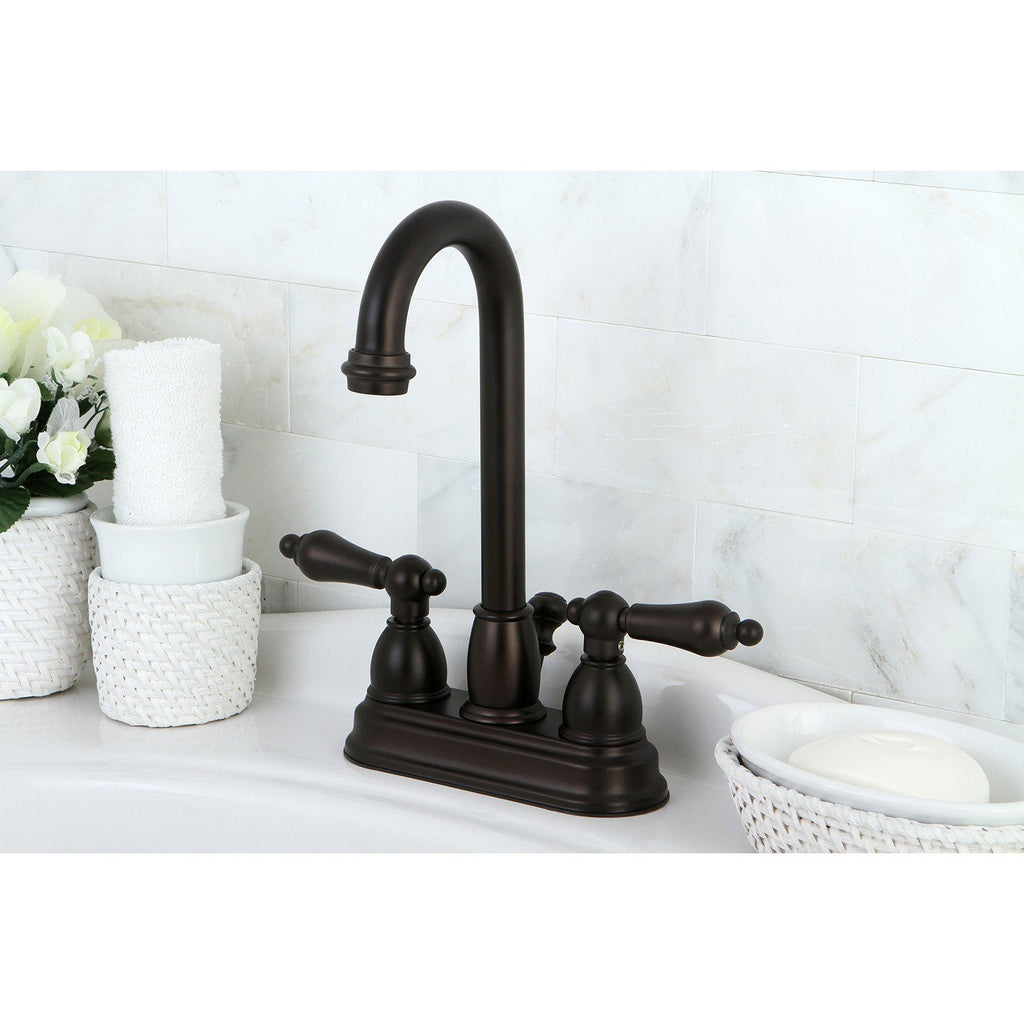 "Restoration Two Handle 4"" Centerset 3-Hole Bathroom Faucet w/Metal Lever - Includes Pop-Up Drain, 1.2 gpm"
