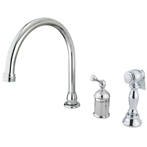 Georgian Single Handle 3-Hole Widespread Kitchen Faucet w/Metal Lever and Side Spray, 1.8 gpm
