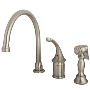 Georgian Single Handle 3-Hole Kitchen Faucet w/Metal Lever and Side Spray, 1.8 gpm