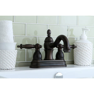 "Templeton Two-Handle 3-Hole Deck Mount 4"" Centerset Bathroom Faucet with Plastic Pop-Up"