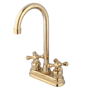 "Classic Two Handle 4"" Centerset 3-Hole Bar Prep Faucet w/Metal Cross, 1.5 gpm"