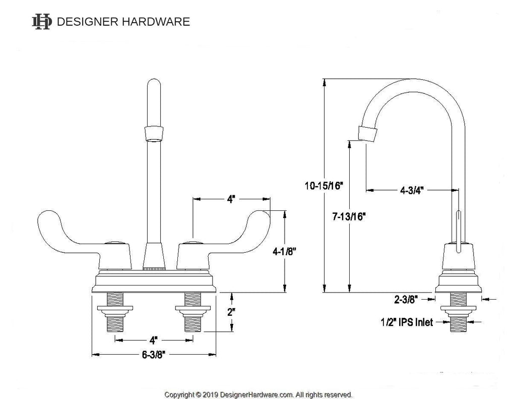 "Magellan Two Handle 4"" Centerset 3-Hole Bar Prep Faucet w/Metal Wrist Blade Wing Levers, 1.5 gpm"