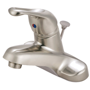 "Wyndham Single Handle 4""Centerset 3-Hole Bathroom Faucet w/Metal Loop - Includes Pop-Up Drain, 1.2 gpm"