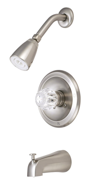 Classic Single Handle 3-Hole Tub and Shower Faucet w/Acrylic Knob, 1.8 gpm & 7 gpm