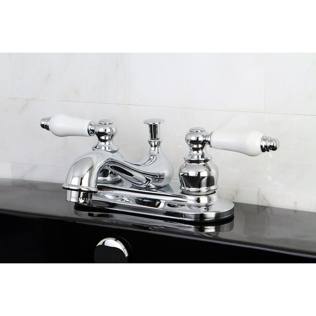 "Restoration Two Handle 4"" Centerset 3-Hole Bathroom Faucet w/Porcelain Lever - Includes Pop-Up Drain, 1.2 gpm"