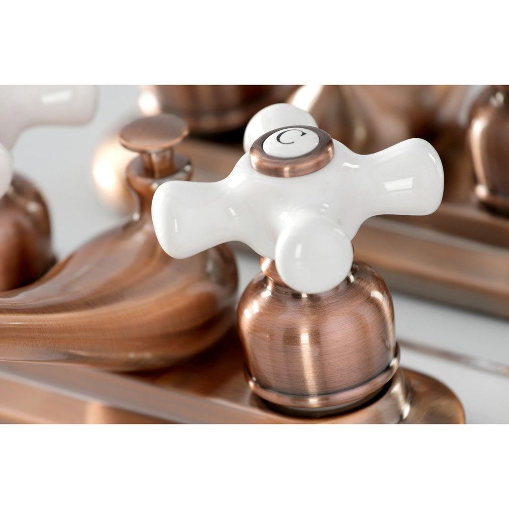 "Restoration Two-Handle 3-Hole Deck Mount 4"" Centerset Bathroom Faucet with Plastic Pop-Up"