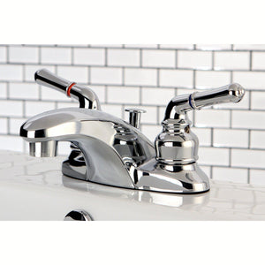 "Magellan Two Handle 4"" Centerset 3-Hole Bathroom Faucet w/Metal Lever - Includes Pop-Up Drain, 1.2 gpm"