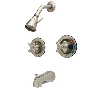 Vintage Two Handle 4-Hole Tub and Shower Pressure Balanced Faucet w/Metal Cross, 1.8 gpm & 7 gpm
