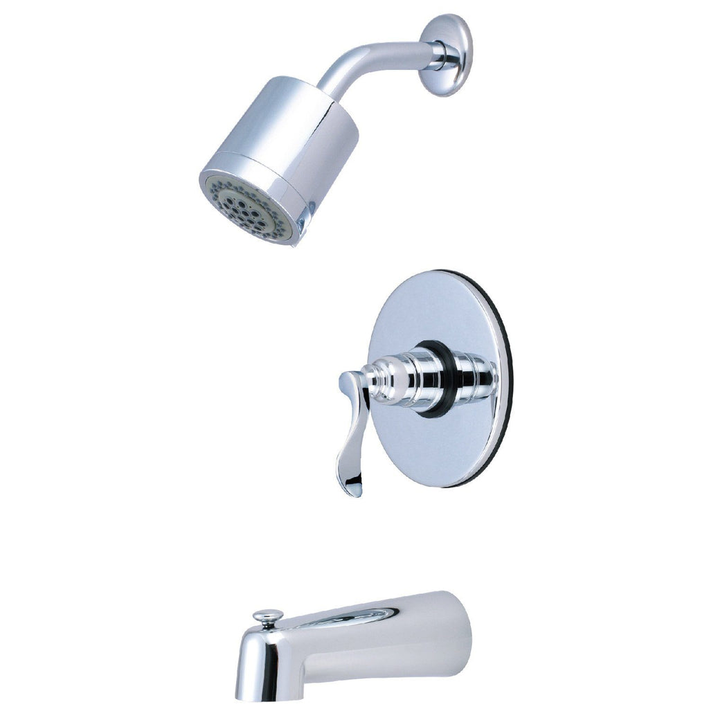 NuWave French Single Handle 3-Hole Tub and Shower Faucet w/Metal Lever, 1.8 gpm & 7 gpm