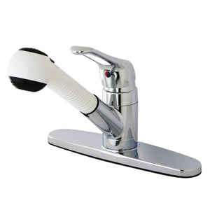 Classic Single Handle 1 or 3 Hole Pull-Out Spray Kitchen Faucet w/Metal Loop and Optional Deck Plate, 1.8 gpm