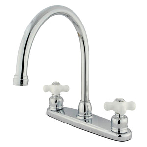 "Classic Two Handle 8"" Centerset 3-Hole Kitchen Faucet w/Porcelain Cross, 1.8 gpm"