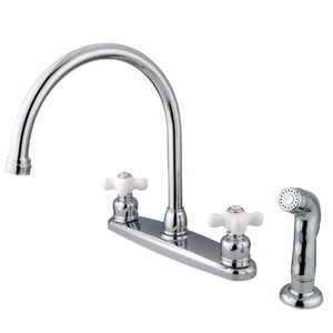 "Classic Two Handle 8"" Centerset 4-Hole Kitchen Faucet w/Porcelain Cross and Side Spray, 1.8 gpm"