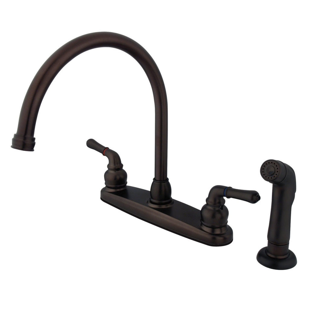 "Magellan Two Handle 8"" Centerset 4-Hole Kitchen Faucet w/Metal Lever and Side Spray, 1.8 gpm"