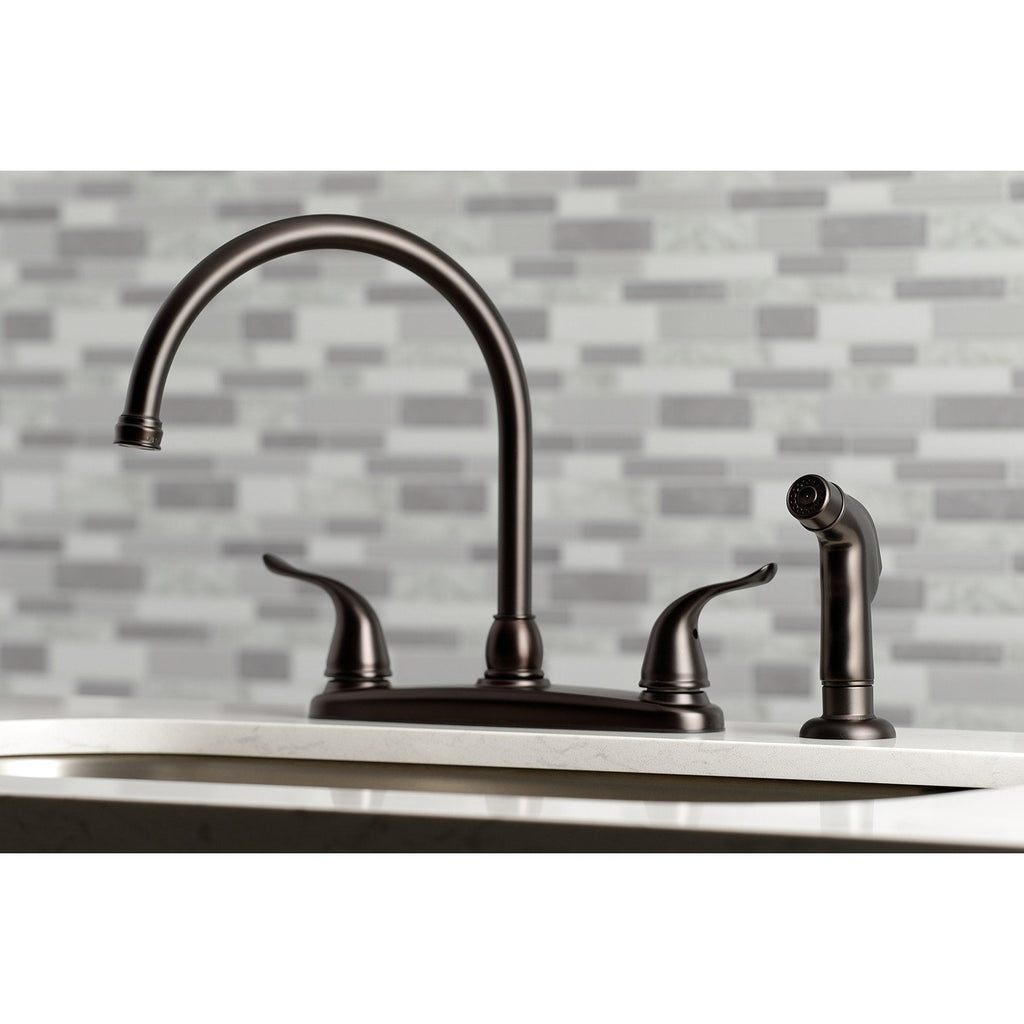 "Yosemite Two-Handle 4-Hole Deck Mount 8"" Centerset Kitchen Faucet with Side Sprayer"
