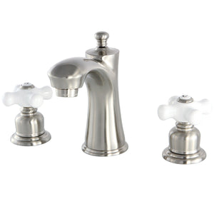 "Victorian Two Handle 8-16"" Widespread 3-Hole Bathroom Faucet w/Porcelain Cross - Includes Pop-Up Drain, 1.2 gpm"