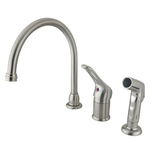 Wyndham Single Handle 3-Hole Widespread Kitchen Faucet w/Metal Loop and Side Spray, 1.8 gpm