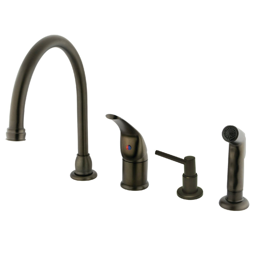 Chatham Single Handle 4-Hole Widespread Kitchen Faucet w/Metal Lever, Soap Dispenser and Side Spray, 1.8 gpm