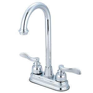 "NuWave Two Handle 4"" Centerset 3-Hole Bar Prep Faucet w/Metal Lever, 1.5 gpm"