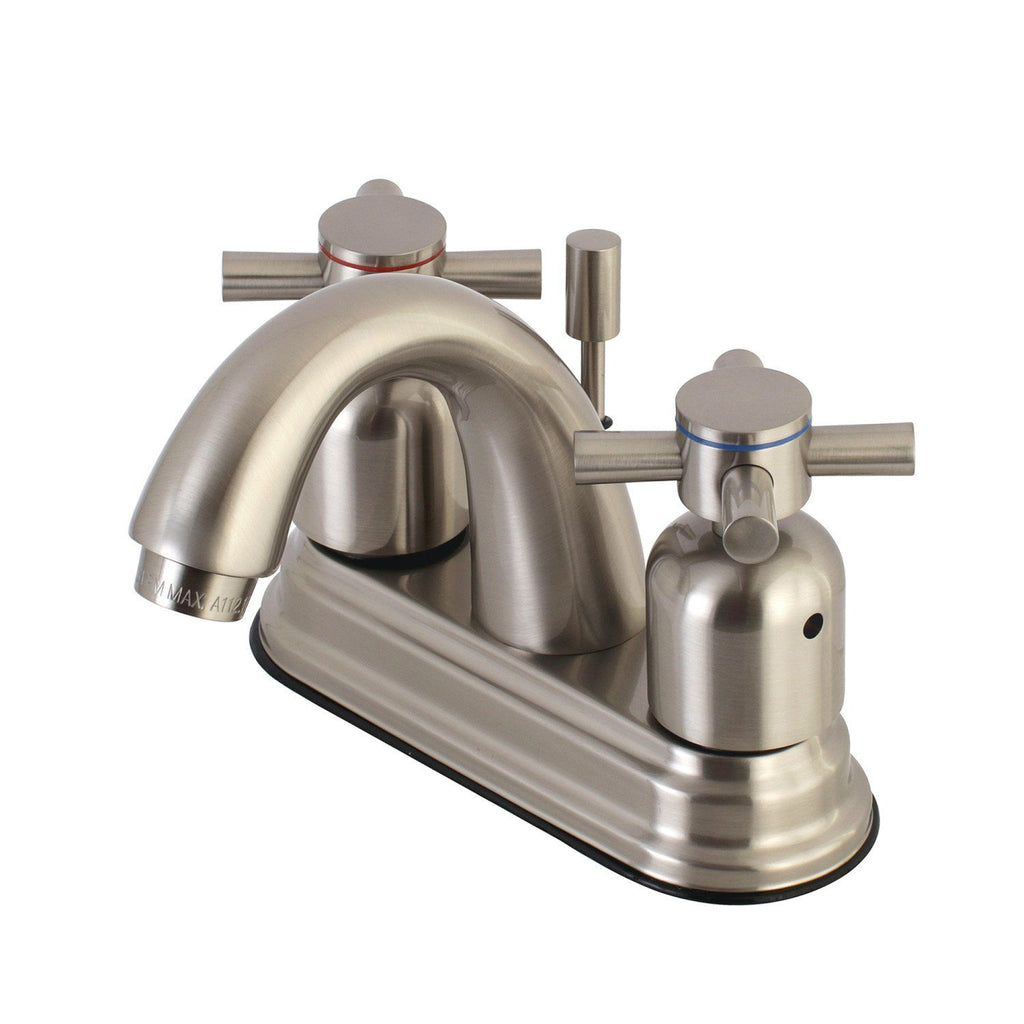 "Concord Two Handle 4"" Centerset 3-Hole Bathroom Faucet w/Metal Cross - Includes Pop-Up Drain, 1.2 gpm"