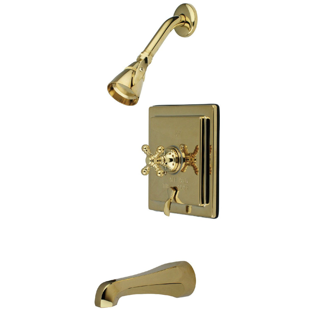 English Vintage Single Handle 3-Hole Tub and Shower Faucet w/Metal Cross, 1.8 gpm & 7 gpm