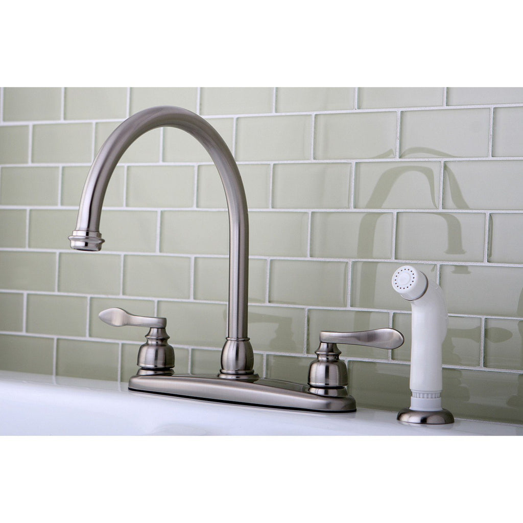 "NuWave Two Handle 8"" Centerset 4-Hole Kitchen Faucet w/Metal Lever and Side Spray, 1.8 gpm"
