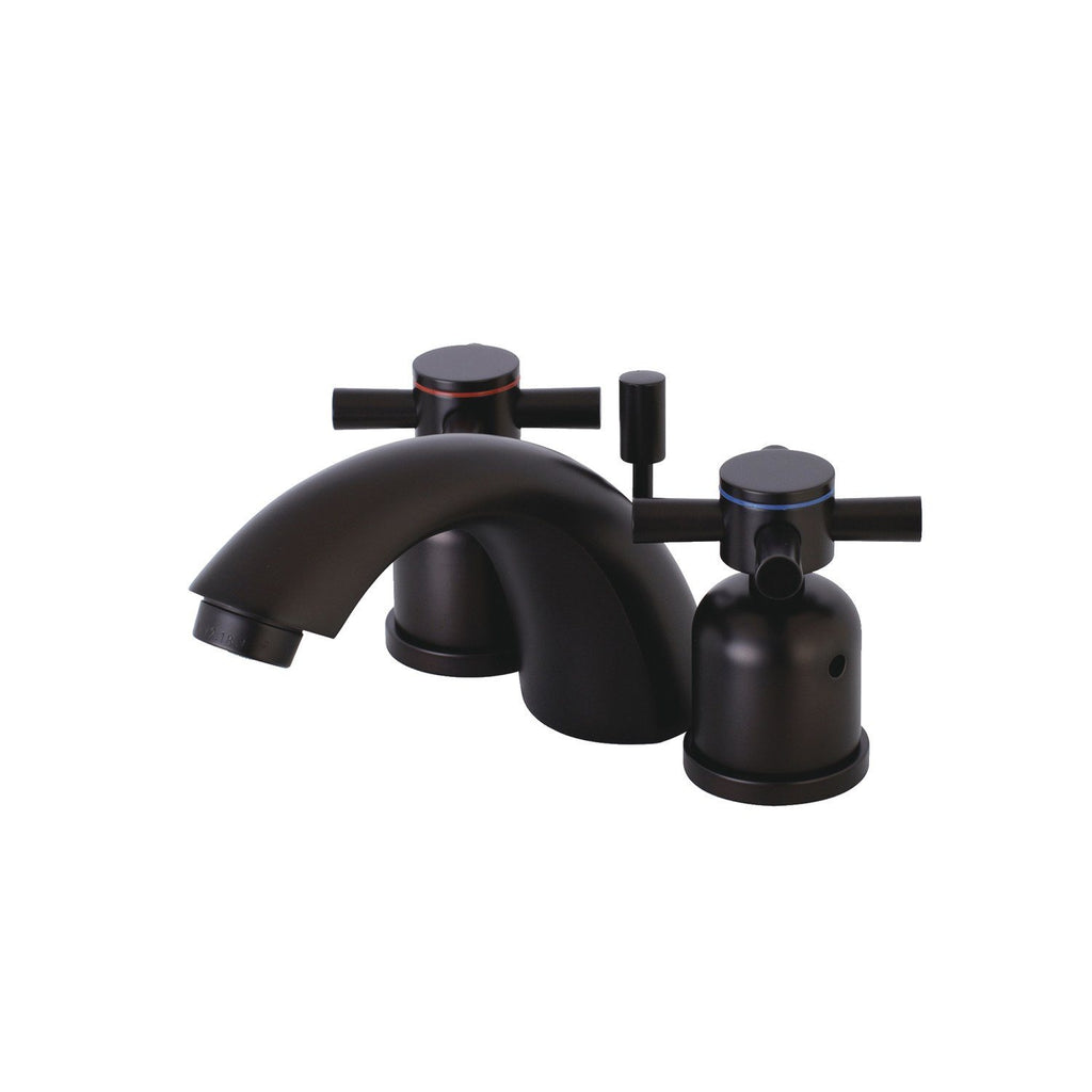 "Concord Two Handle 4"" Mini-Widespread 3-Hole Bathroom Faucet w/Metal Cross - Includes Pop-Up Drain, 1.2 gpm"