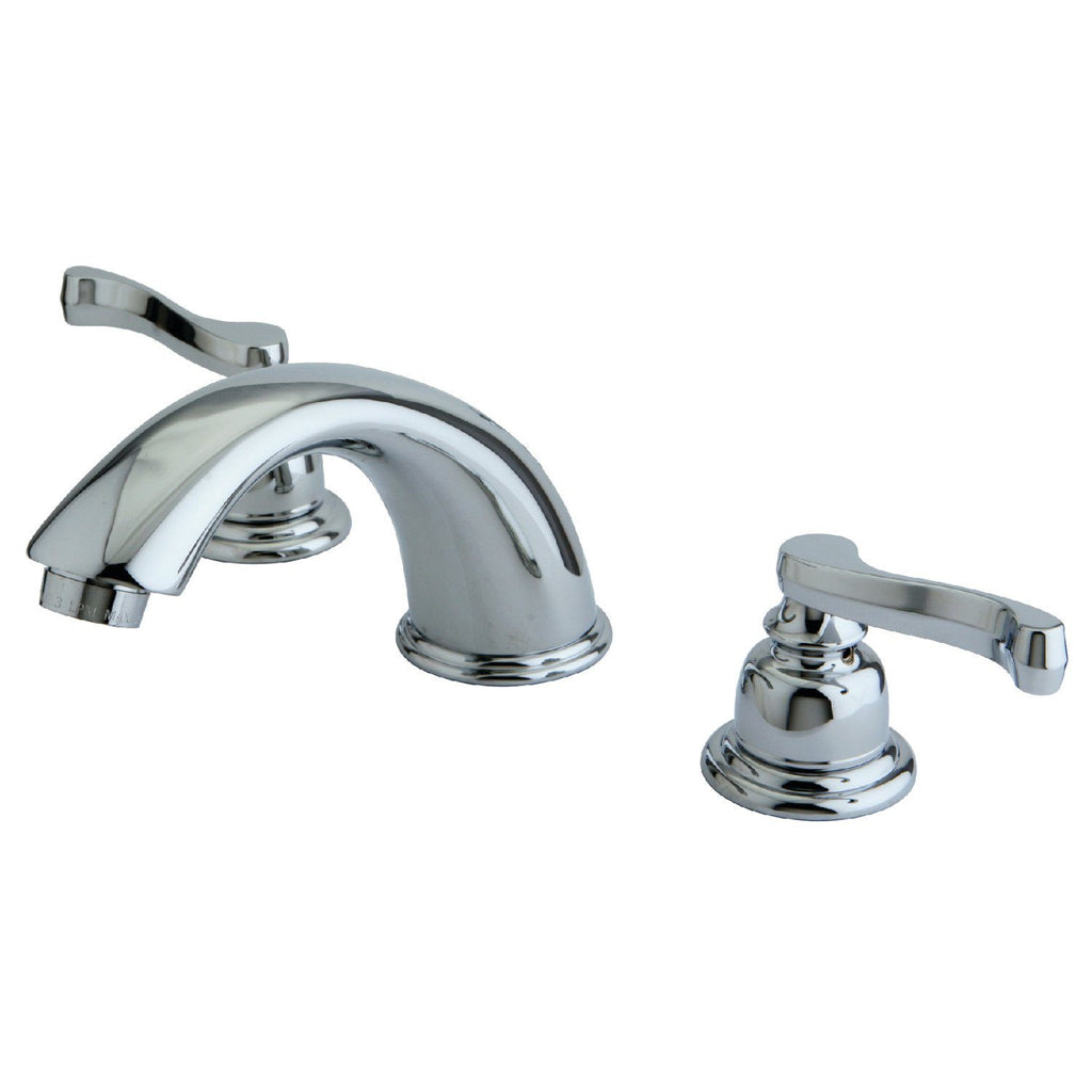 "Royale Two Handle 8-16"" Widespread 3-Hole Bathroom Faucet w/Metal Lever - Includes Pop-Up Drain, 1.2 gpm"