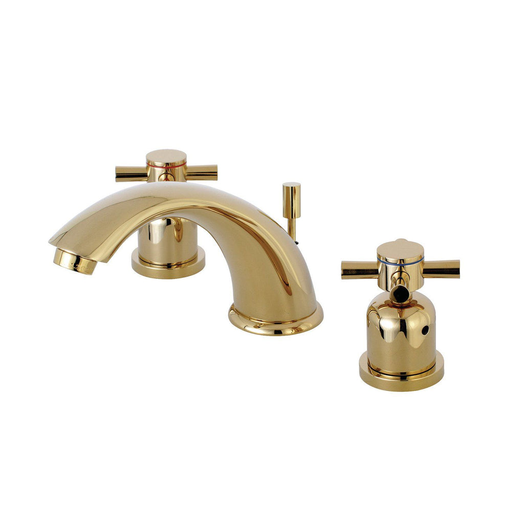 "Concord Two Handle 8-16"" Widespread 3-Hole Bathroom Faucet w/Metal Cross - Includes Pop-Up Drain, 1.2 gpm"
