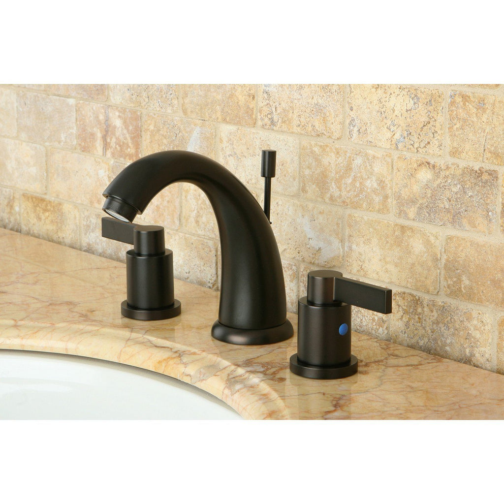 "NuvoFusion Two Handle 8-16"" Widespread 3-Hole Bathroom Faucet w/Metal Lever - Includes Pop-Up Drain, 1.2 gpm"