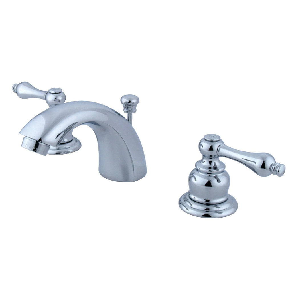 "Victorian Two Handle 4"" Mini-Widespread 3-Hole Bathroom Faucet w/Metal Lever - Includes Pop-Up Drain, 1.2 gpm"