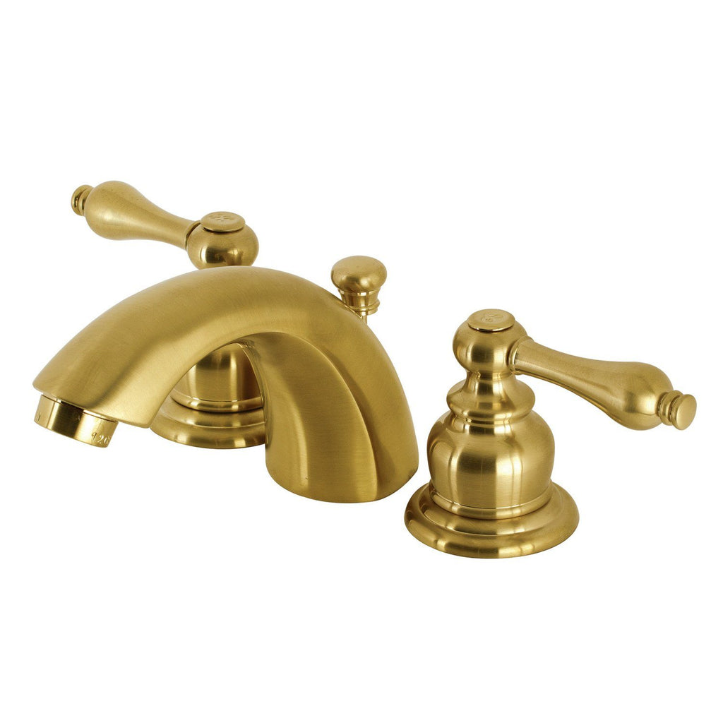 Victorian Two-Handle 3-Hole Deck Mount Mini-Widespread Bathroom Faucet with Plastic Pop-Up