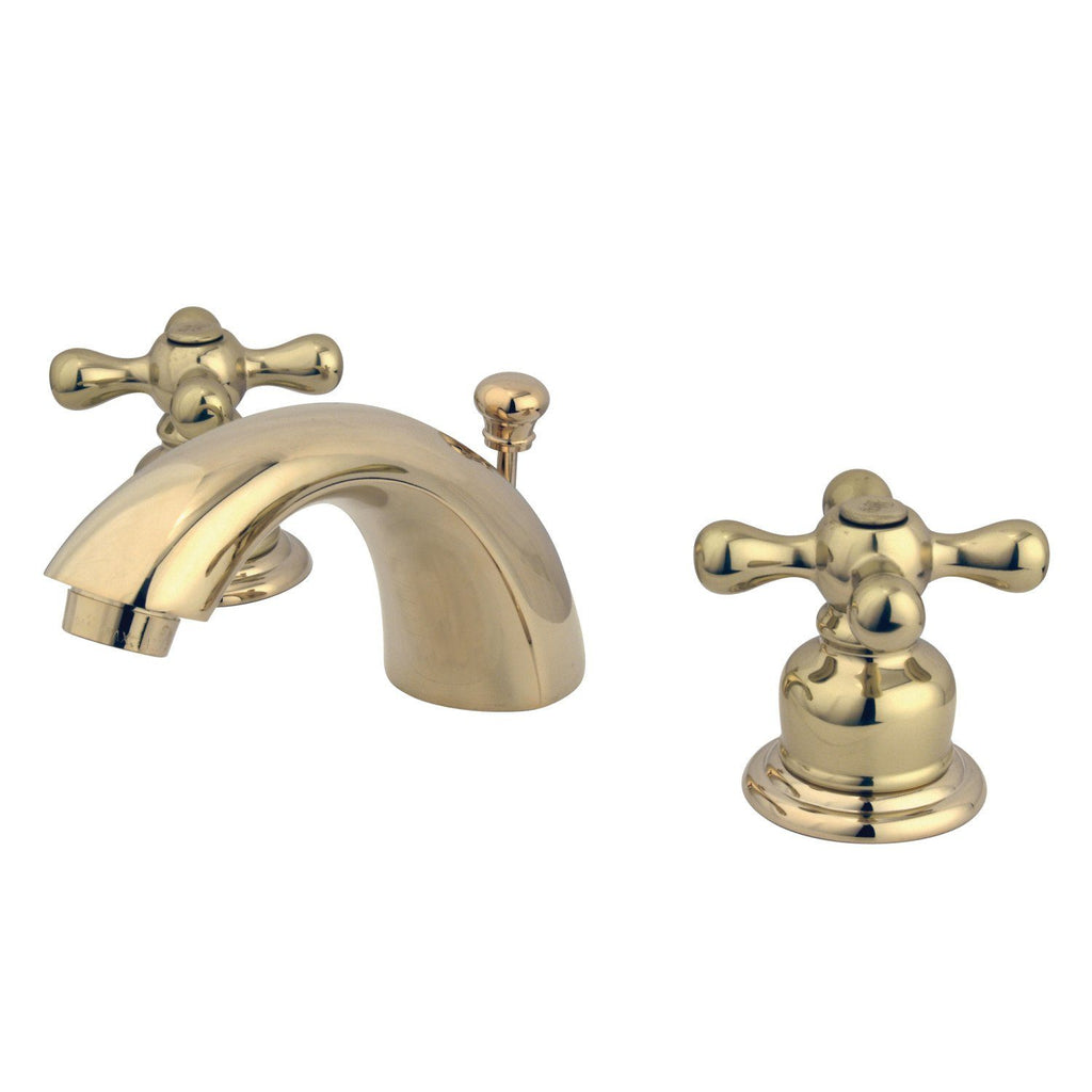 "Victorian Two Handle 4"" Mini-Widespread 3-Hole Bathroom Faucet w/Metal Cross - Includes Pop-Up Drain, 1.2 gpm"