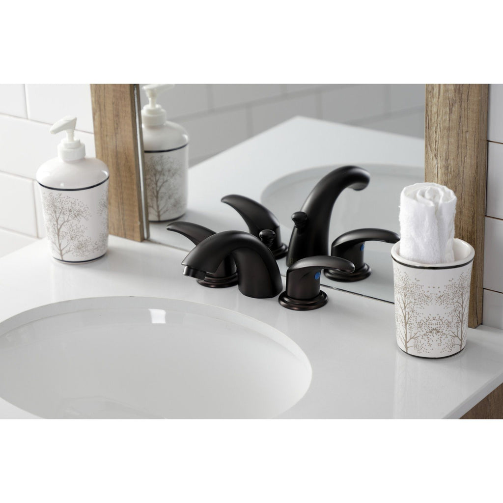 Legacy Two-Handle 3-Hole Deck Mount Mini-Widespread Bathroom Faucet with Plastic Pop-Up