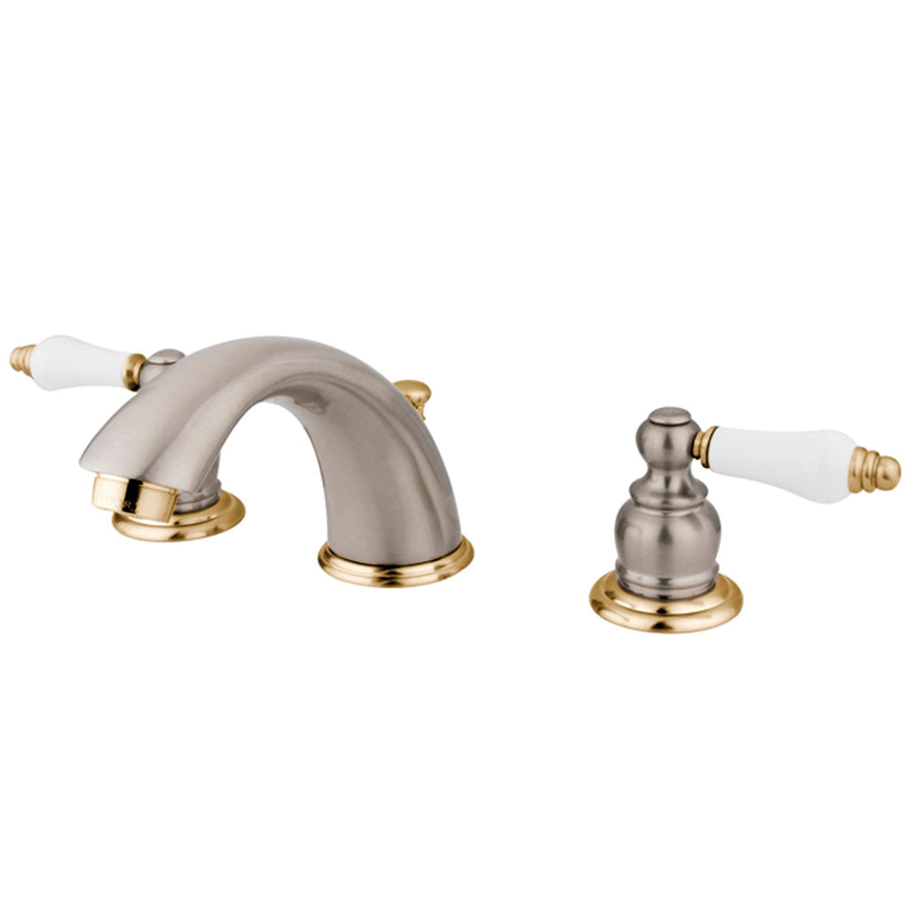 "Victorian Two Handle 8-16"" Widespread 3-Hole Bathroom Faucet w/Porcelain Lever - Includes Pop-Up Drain, 1.2 gpm"