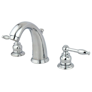 "Knight Two Handle 8-16"" Widespread 3-Hole Bathroom Faucet w/Metal Lever - Includes Pop-Up Drain, 1.2 gpm"