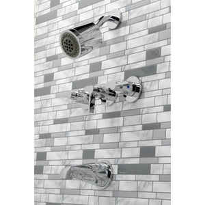 NuvoFusion Three-Handle 5-Hole Wall Mount Tub and Shower Faucet
