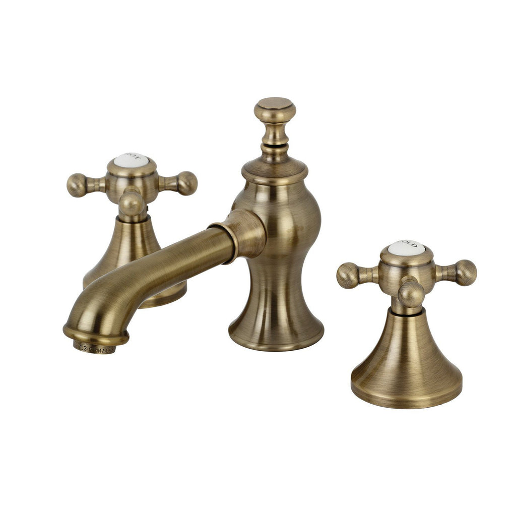 English Country Two-Handle 3-Hole Deck Mount Widespread Bathroom Faucet with Brass Pop-Up