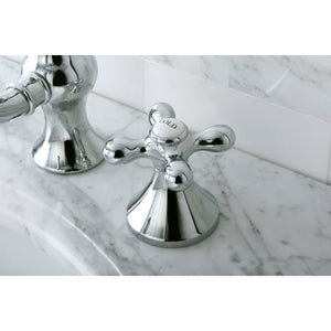 "Vintage Two Handle 8-16"" Widespread 3-Hole Bathroom Faucet w/Metal Cross - Includes Pop-Up Drain, 1.2 gpm"