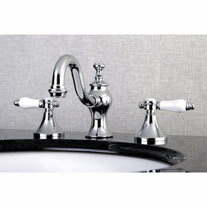 "Bel-Air Two Handle 8-16"" Widespread 3-Hole Bathroom Faucet w/Porcelain Lever - Includes Pop-Up Drain, 1.2 gpm"