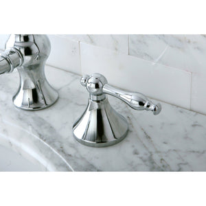 "Naples Two Handle 8-16"" Widespread 3-Hole Bathroom Faucet w/Metal Lever - Includes Pop-Up Drain, 1.2 gpm"