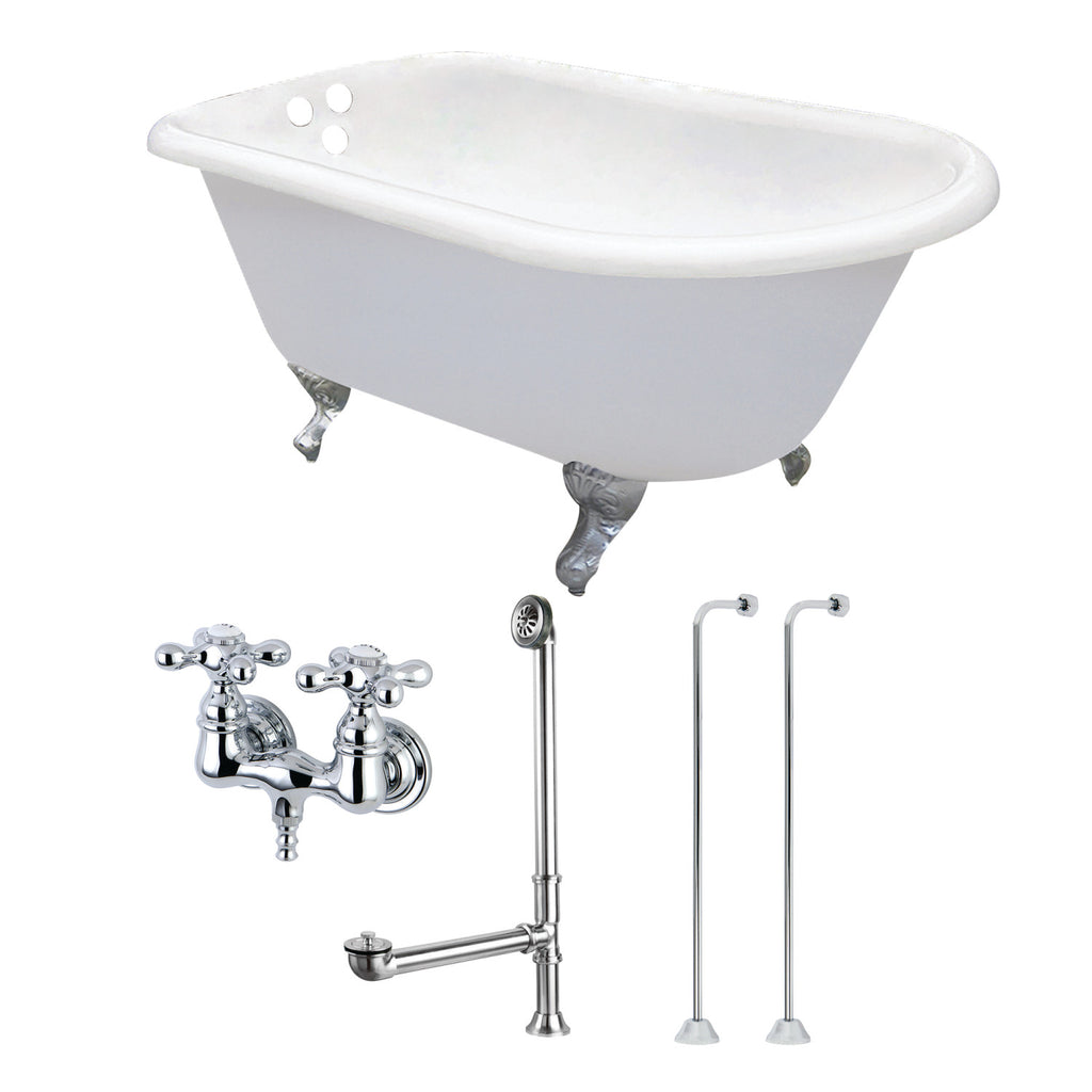 "Aqua Eden 54"" Cast Iron Clawfoot Bath Tub with Faucet Drain and Supply Lines Combo"