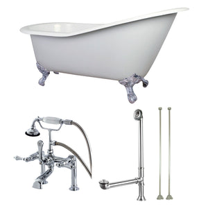 "Aqua Eden 62"" Cast Iron Clawfoot Bath Tub with Faucet Drain and Supply Lines Combo"