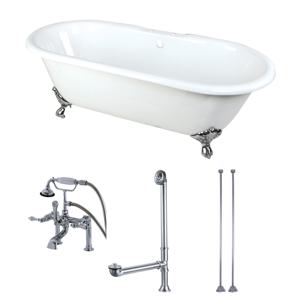 "Aqua Eden 66"" Cast Iron Clawfoot Bath Tub with Faucet Drain and Supply Lines Combo"